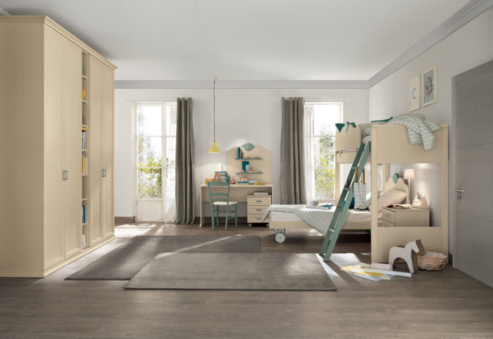 camerette bambini stile classico composizione tipo beige e verde