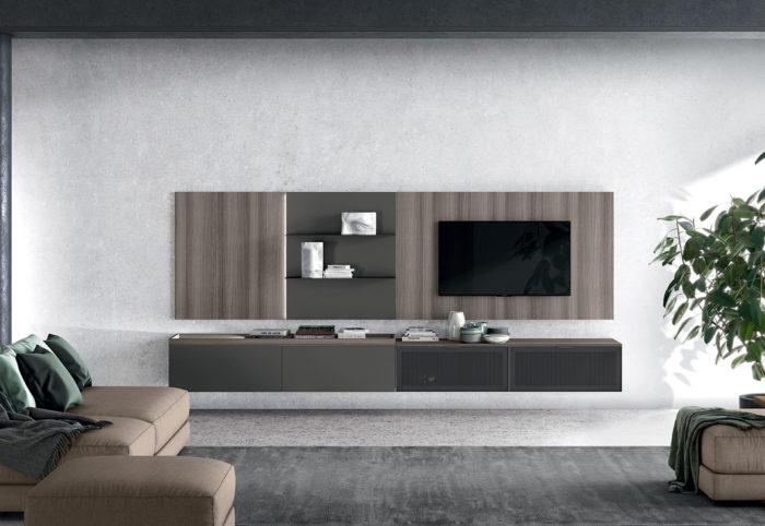 mobile soggiorno con pannello a parete sospeso