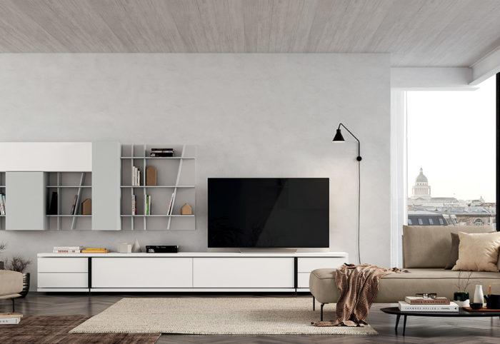 mobili per soggiorno a parete bianco