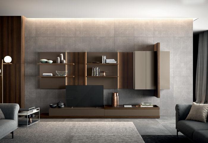 mobile per soggiorno a parete con illuminazione integrata