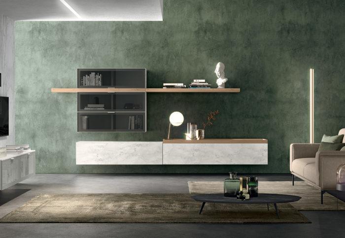 mobili per soggiorno a parete sospesi calacatta