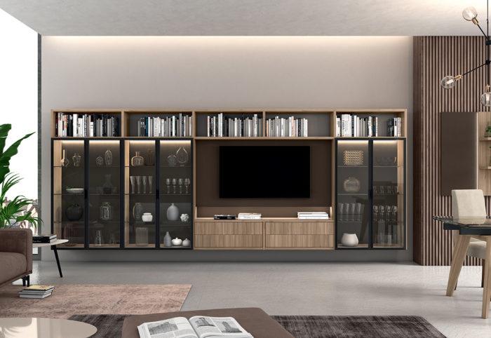 libreria a parete con vetrina