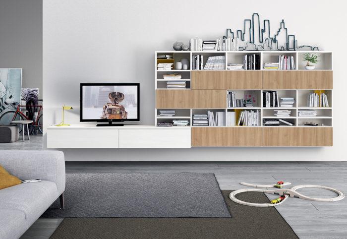 mobili per soggiorno con pensili sospesi in stile moderno color ciliegio nordico