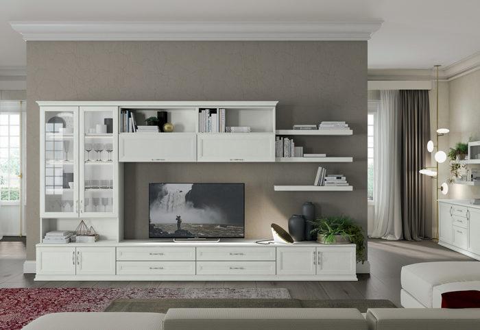 mobili per soggiorno in stile classico arcadia bianco bucaneve
