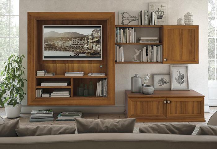 mobili per soggiorno in stile classico color noce sorrento