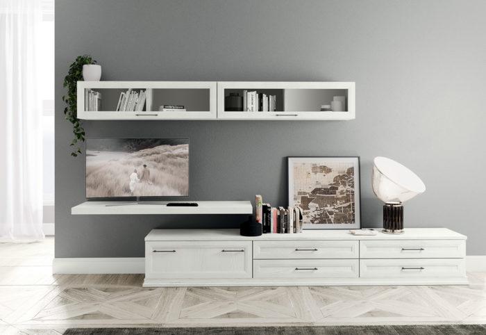 mobili per soggiorno in stile classico composizione tipo in bianco bucaneve electa