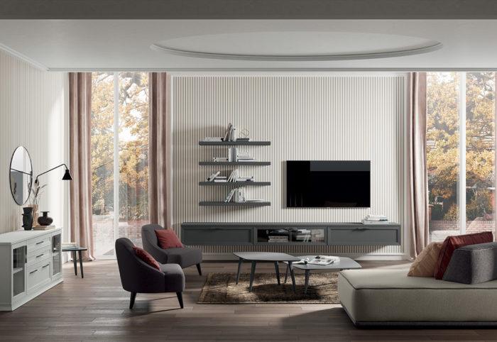 mobili per soggiorno in stile classico composizione tipo in grigio titanio