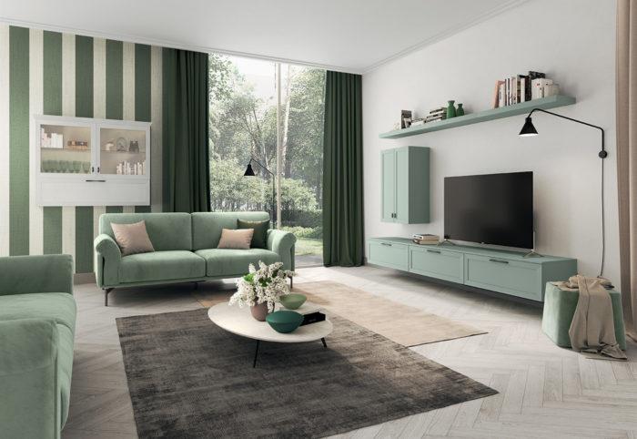 mobili per soggiorno in stile classico contemporaneo verde agave