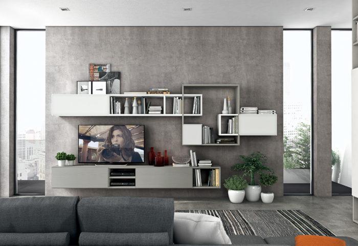 mobili per soggiorno in stile moderno con mensole quadrate