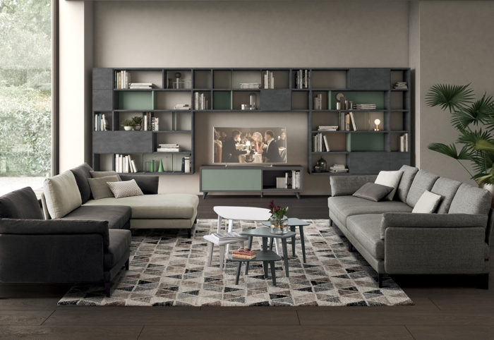 mobili per soggiorno in stile moderno effetto metallo