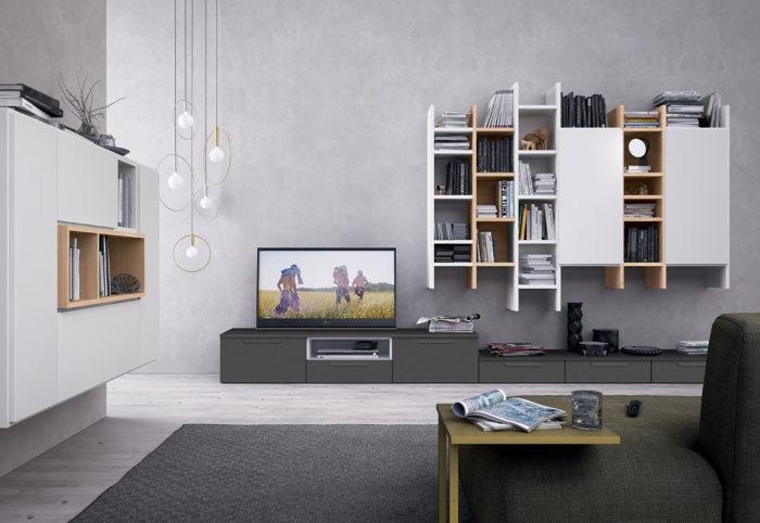mobili per soggiorno in stile moderno sospesi bianco opaco golf